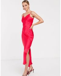 Glamorous Midaxi Slip Dress With Cowl Neck - Red