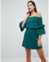 ASOS DESIGN - Asos Scuba Crop Top Bardot Fluted Sleeve Mini Dress - Lyst
