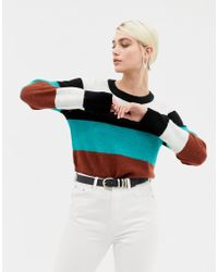 SELECTED Long Sleeve Fine Knit Stripe Sweater - Multicolor