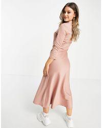 Pieces Розовое Клетчатое Платье-рубашка Макси С Узором «гусиная Лапка» -розовый Цвет