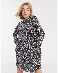 Monki Платье-рубашка Мини С Черным Звериным Принтом -черный - Многоцветный