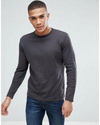 New Look - Long Sleeve Waffle Knit Top In Dark Grey - Lyst