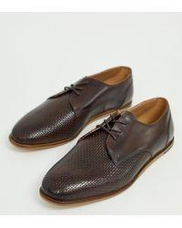 H by Hudson Коричневые Туфли Для Широкой Стопы С Тиснением И Шнуровкой Crayford - Коричневый