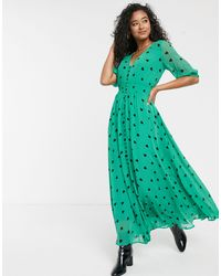Ghost Valentina Heart Print Maxi Dress-green