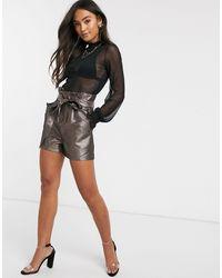 Pimkie Tie Waist Glitter Shorts - Metallic