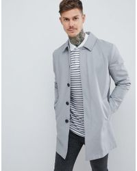 ASOS - Shower Resistant Single Breasted Trench In Gray - Lyst