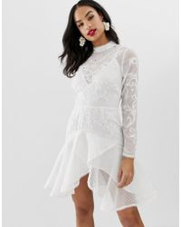 f3606a664b ASOS - Trumpet Hem Mini Dress With Embroidery And Embellishment - Lyst