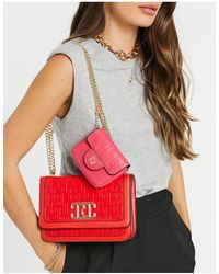 River Island Embossed Monogram Double Bag Satchel - Red