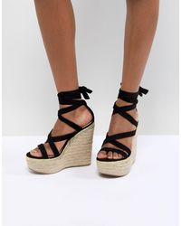 ASOS Trophy Tie Leg High Wedges - Multicolour