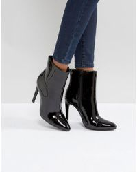 London Rebel - Stiletto Heel Pointed Ankle Boot With Silver Zip - Lyst