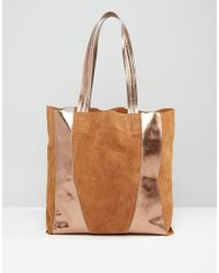 Urbancode - Relaxed Metallic Leather Shopper Bag - Gold - Lyst