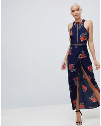 Girl In Mind - Floral Open Back Wrap Maxi Dress - Lyst