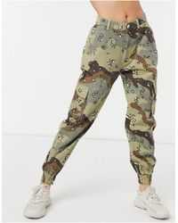Missguided Cargo Trouser With Cuffed Hem - Green