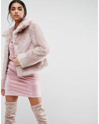 ASOS Chubby Vintage Faux Fur Coat - Pink