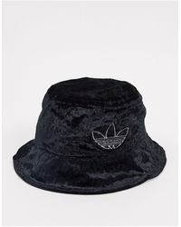 adidas Originals Velvet Trefoil Bucket Hat - Black