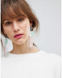 ASOS | Design Statement Pastel Metal And Resin Shape Earrings | Lyst
