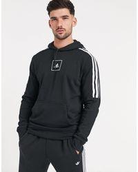 adidas Худи Черного Цвета С 3 Полосами -черный Цвет