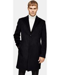 TOPMAN Черное Пальто Классического Кроя Considered-черный Цвет