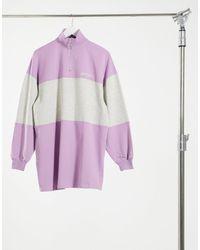 Bershka Robe pull zippée devant à rayures - Violet