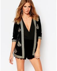 Millie Mackintosh Velvet Embroidered Jacket - Black