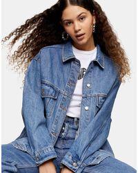 TOPSHOP Veste en jean oversize - délavé moyen - Bleu