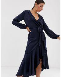 Flounce London Wrap Front Midi Dress - Blue