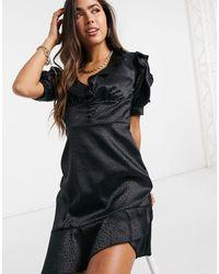 River Island Jacquard Ruffle Mini Tea Dress - Black
