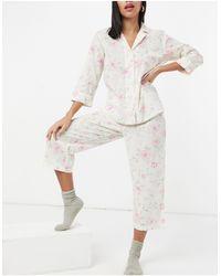 Lauren by Ralph Lauren Pyjama Met Kraag Met Inkeping, Capribroek En Bloemenprint - Wit