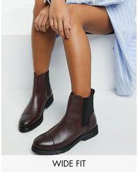 Dune - Wide Fit – Chelsea-Stiefel aus Leder - Lyst