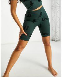 ASOS 4505 - Бесшовные Облегающие Шорты-леггинсы С Жаккардовым Принтом Из Переработанной Пряжи -зеленый Цвет - Lyst