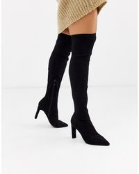 Glamorous Pointed Toe Thigh High Boots - Black