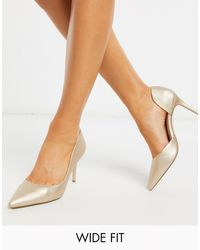 Miss Kg Wide Fit Celia Pointed Heeled Shoes - Metallic