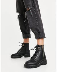 River Island Patent Lace Up Chunky Boot - Black