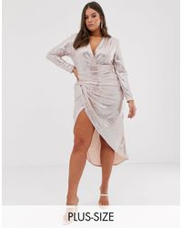 John Zack Wrap Front Sequin Midi Dress - Pink