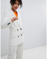 Monki - Double Breasted Stripe Blazer - Lyst