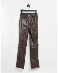 ASOS ASOS DESIGN Tall – Hose aus PU mit geradem Bein und mittelhohem Bund im Stil der 90er - Braun