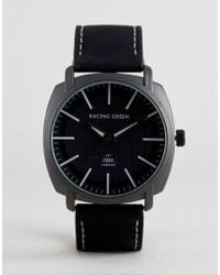 Racing Green - Black Strap Watch With Round Black Dial - Lyst