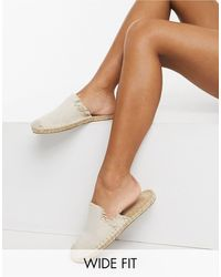 ASOS Wide Fit Josie Espadrille Mules - Natural