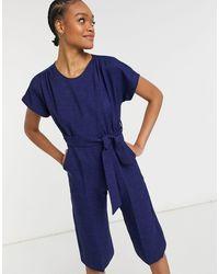 Closet Cap Sleeve Tie Waist Wide Leg Jumpsuit - Blue
