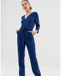 ONLY Jeans-Jumpsuit mit Wickeldesign vorn - Blau
