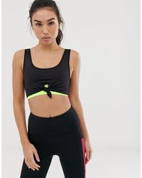 South Beach Knot Front Double Layer Bra Top - Black