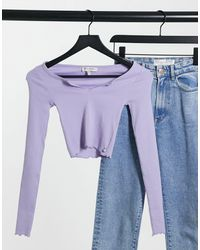 Pull&Bear Notch Front Long Sleeve Top - Purple