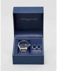 Tommy Hilfiger Silver Watch & Cufflink Set - Metallic
