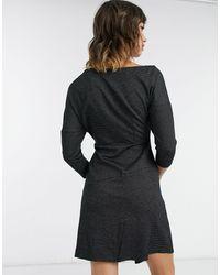 Closet Черное Платье Мини С Открытыми Плечами И Укороченными Рукавами -черный Цвет