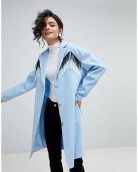 ASOS - Design Coat With Fringing - Lyst