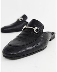 ASOS – Fersenlose Loafer aus schwarzem Leder mit Trensendesign
