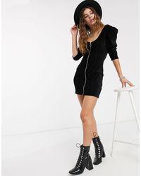 Bershka Corduroy Zip Detail Dress - Black