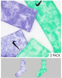 Nike Набор Из 2 Пар Носков Фиолетового И Зеленого Цвета С Принтом Тай-дай -разноцветный - Зеленый
