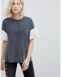Bershka - Fluffy Arm Detail T-shirt - Lyst