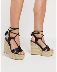 River Island Strappy Heeled Wedge Sandals - Black
